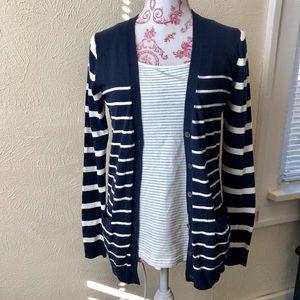 Gap Striped Button Down Cardigan S Navy White Silk